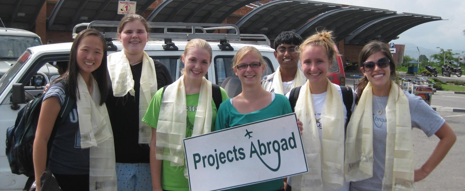 Staff arrive at the airport to welcome Projects Abroad volunteers in Nepal.